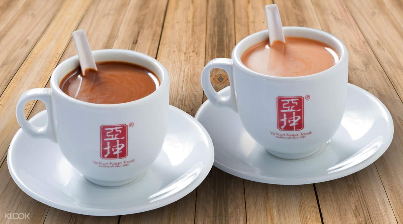 two cups of Ya Kun Kaya coffee
